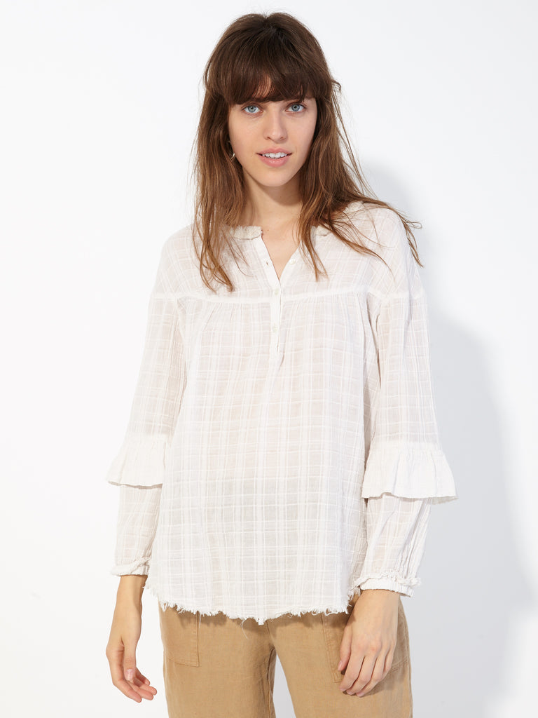 Dirty White Plaid Gauze Victorian Blouse