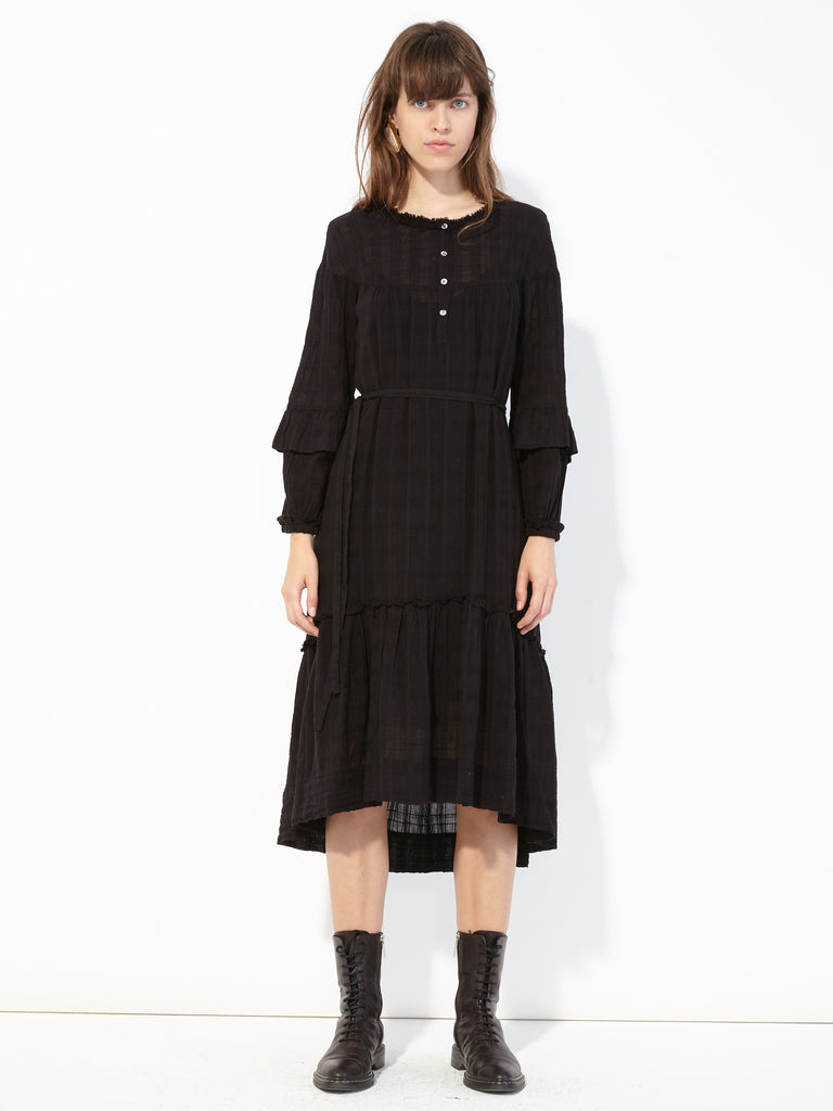Black Plaid Gauze Victorian Ruffle Dress