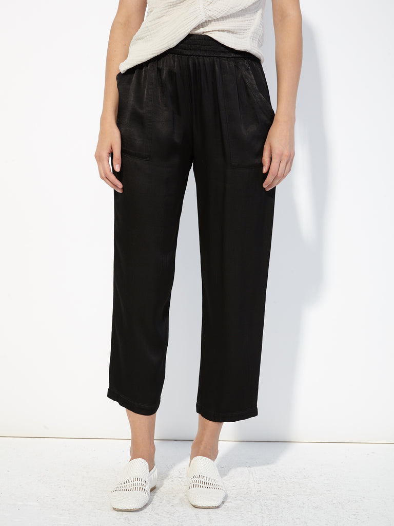 Black Pebble Satin Trapunto Pant