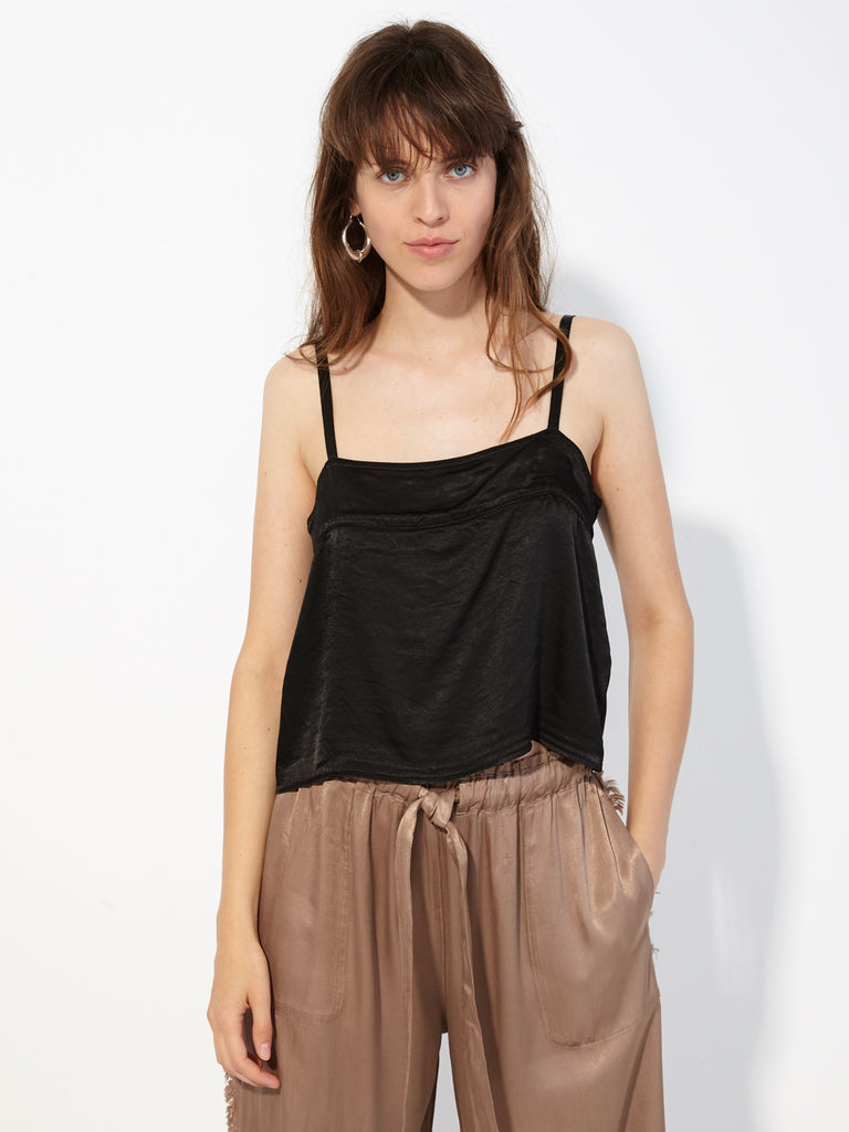 Black Pebble Satin Cami