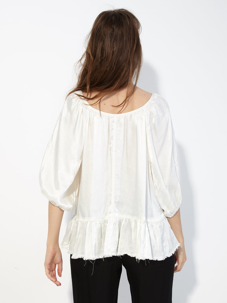 Ivory Pebble Satin Peasant Ruffle Top