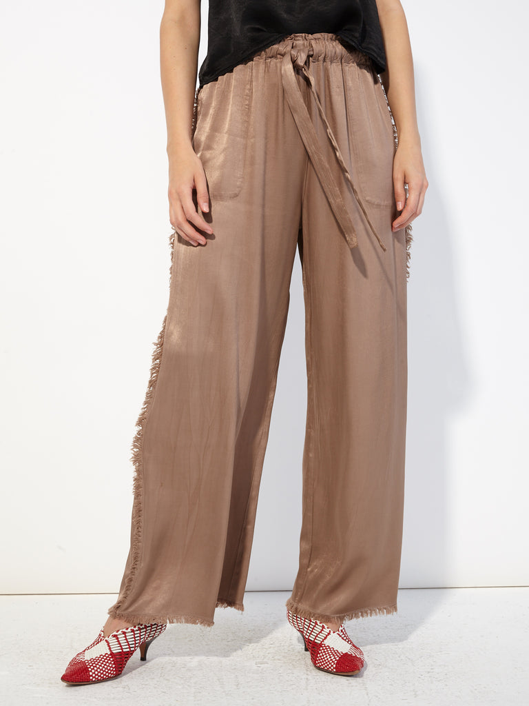 Taupe Pebble Satin Fray Pant