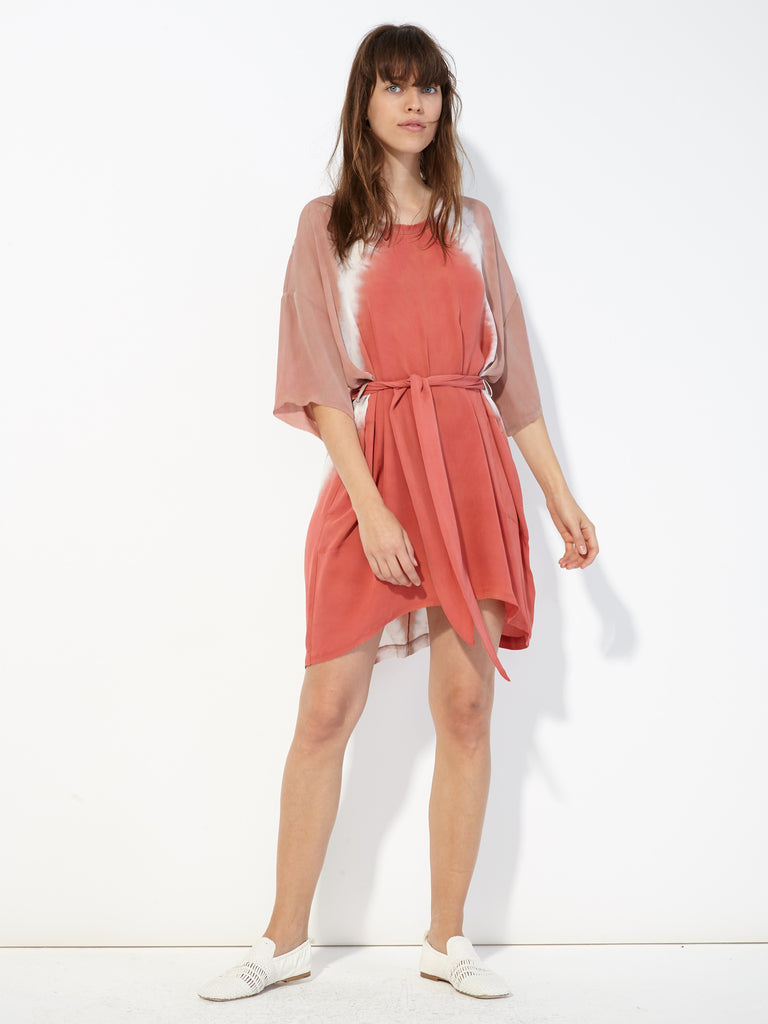 Pink Sands Silk Tie Dye Belted Boxy Dress