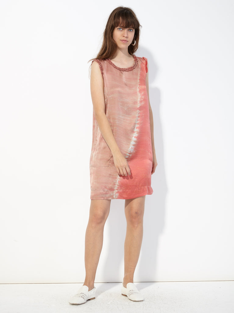 Pink Sands Silk Tie Dye Ruffle Muscle Tee Dress