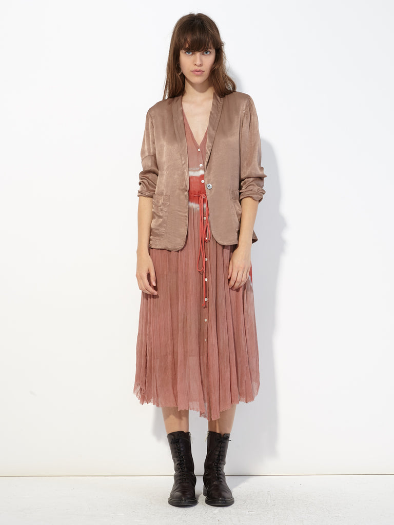 Pink Sands Silk Tie Dye Button Up Desert Dress