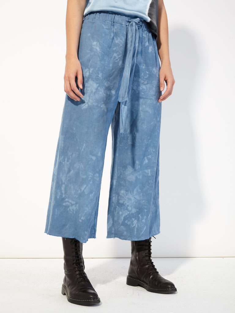 Cloud Wash Linen Cropped Pajama Pant