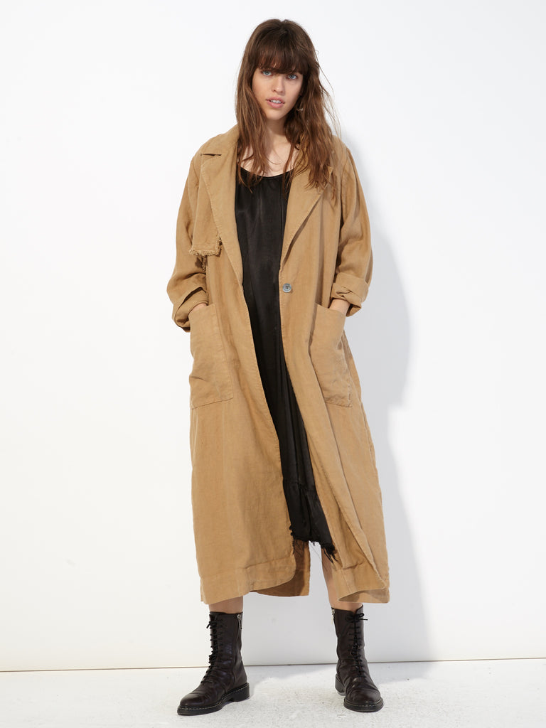 Camel Linen Trench