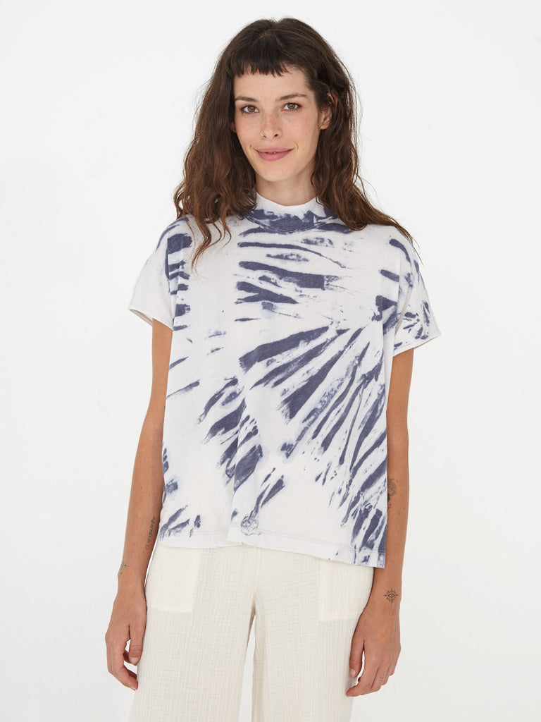 Blue River Tie Dye Jersey Boxy Mock Neck