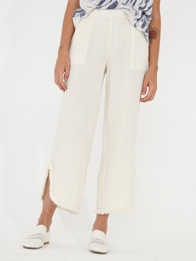 Bone Textured Gauze Cut Out Pant