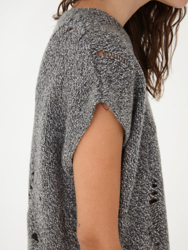 Grey Fleck Speckle Vintage Cable Knits Square Top