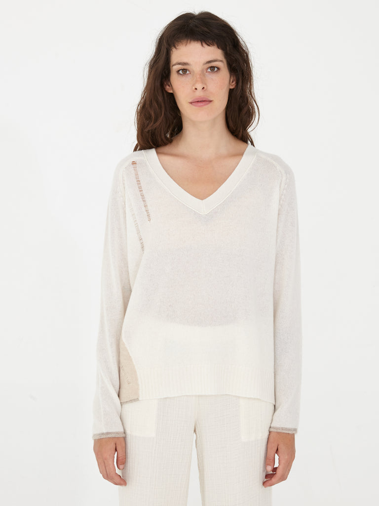 Whites Colorblock Cashmere V Neck Pullover