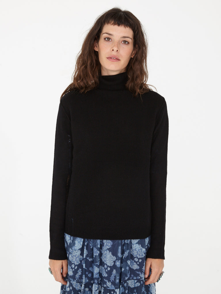 Black Colorblock Cashmere Turtleneck