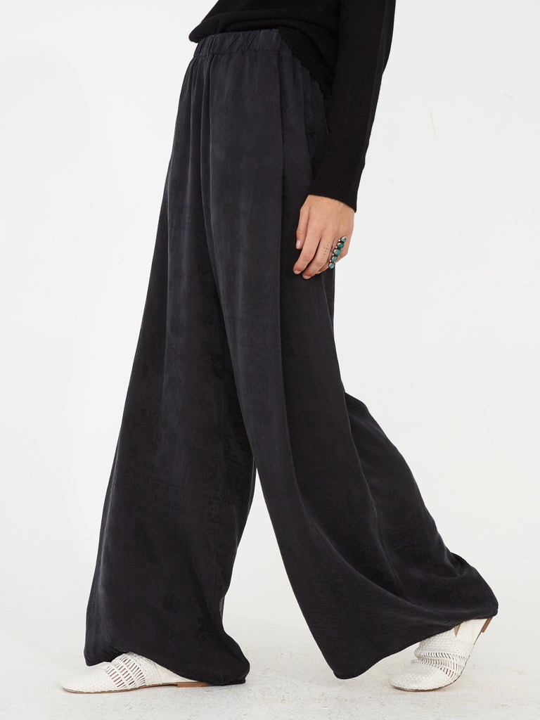 Black Silk Damask Bandana Wide Leg Pant