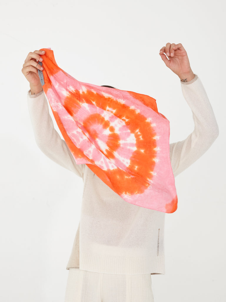 Grapefruit Silk Damask Bandana