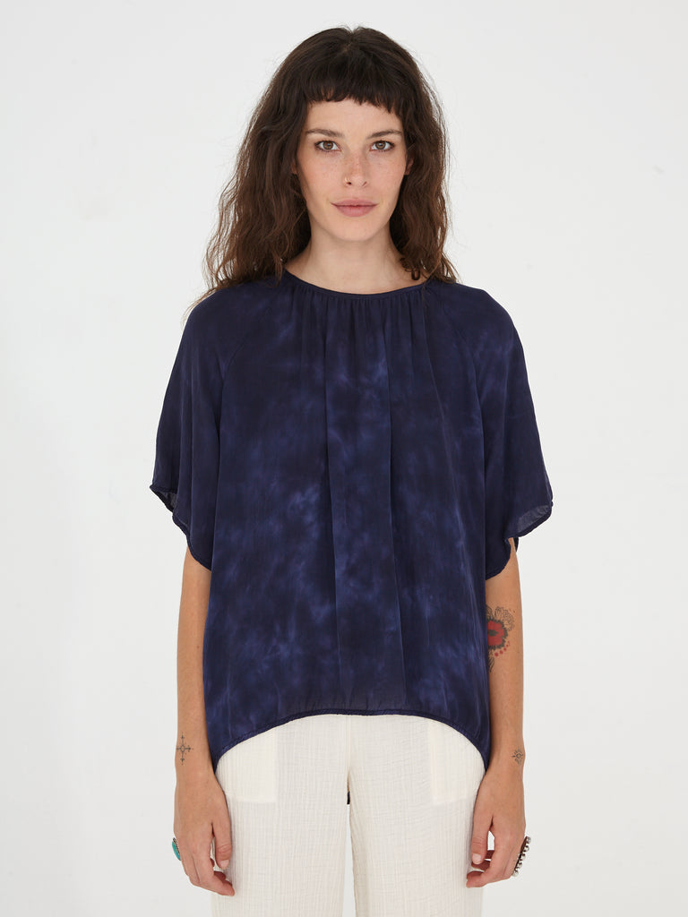 Night Sky Silk Tie Dye Reversible Flutter Sleeve Top