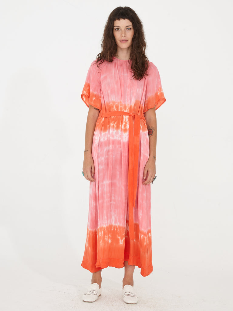 Grapefruit Silk Tie Dye Reversible Flutter Sleeve Dress