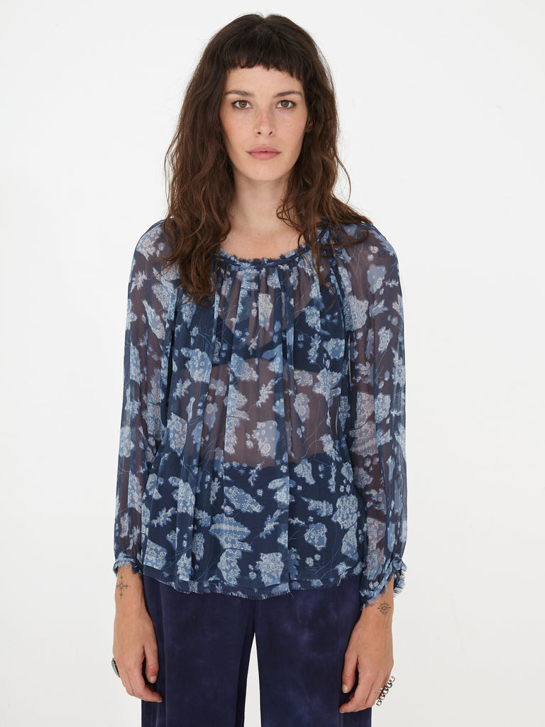 Navy Floral Bandana Chiffon Raglan Shirred Top