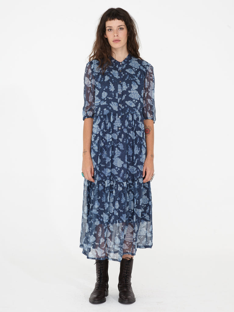 Navy Floral Bandana Chiffon Peasant Tiered Dress