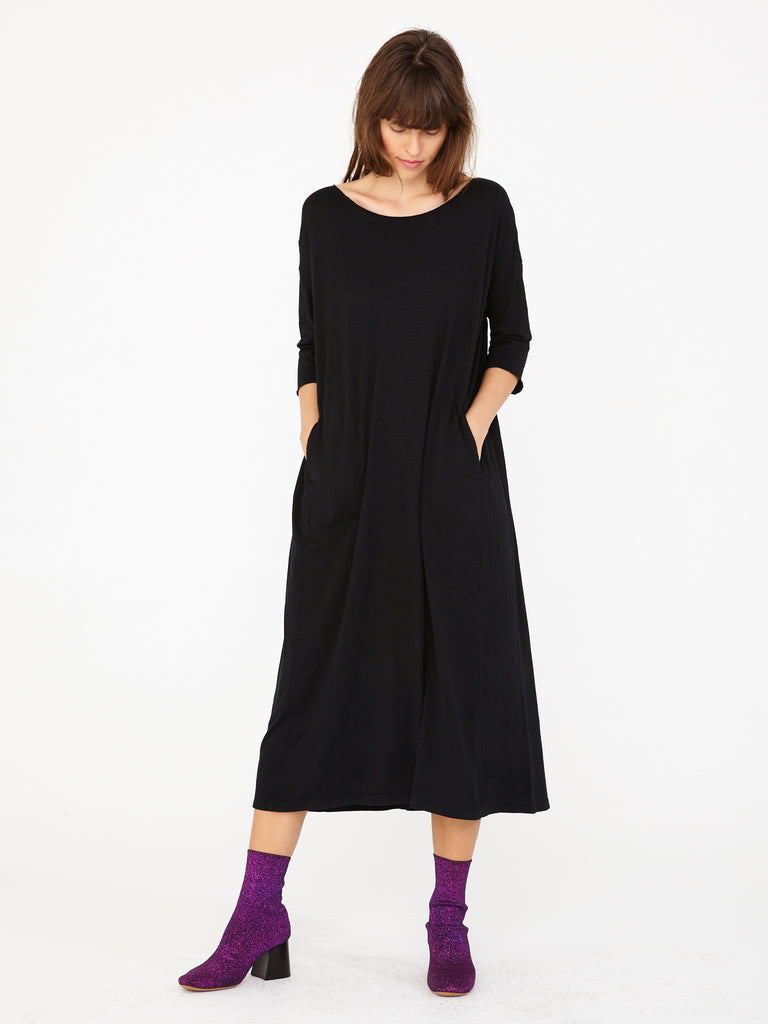 Black Sueded Baby Jersey Cocoon Dress