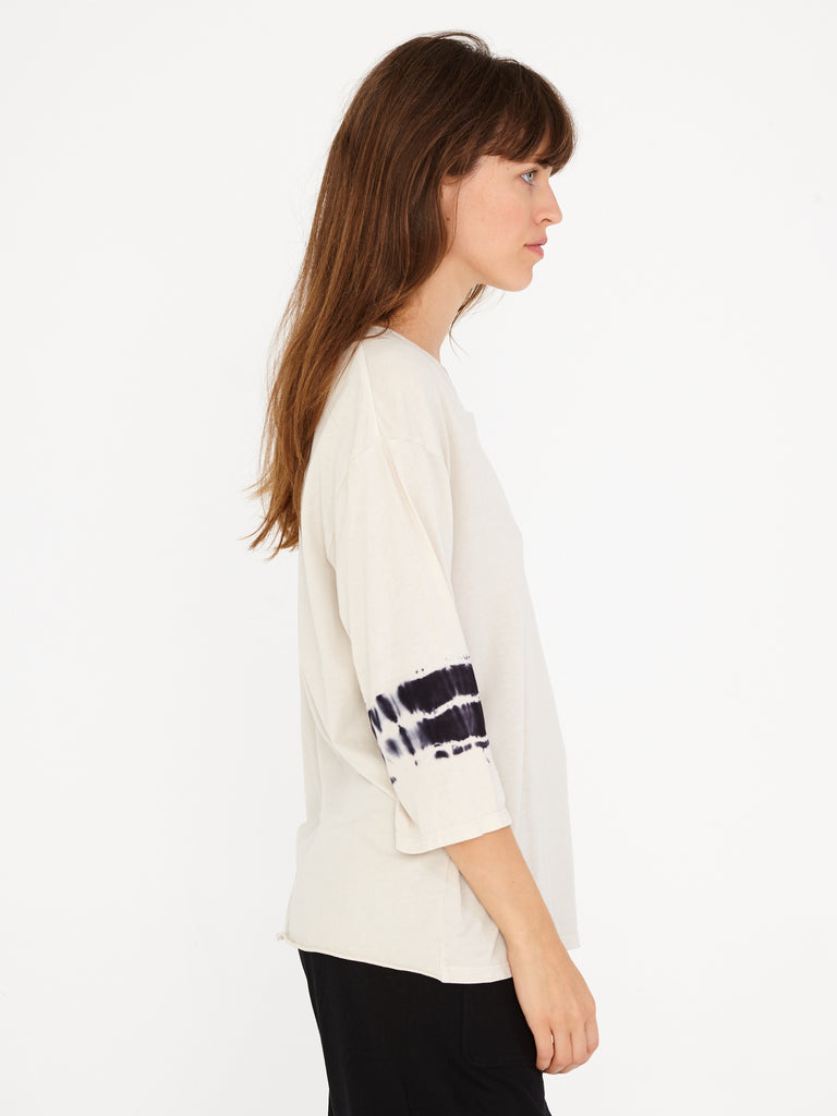 Dirty White Sueded Baby Jersey 3/4 Sleeve Boxy Tee