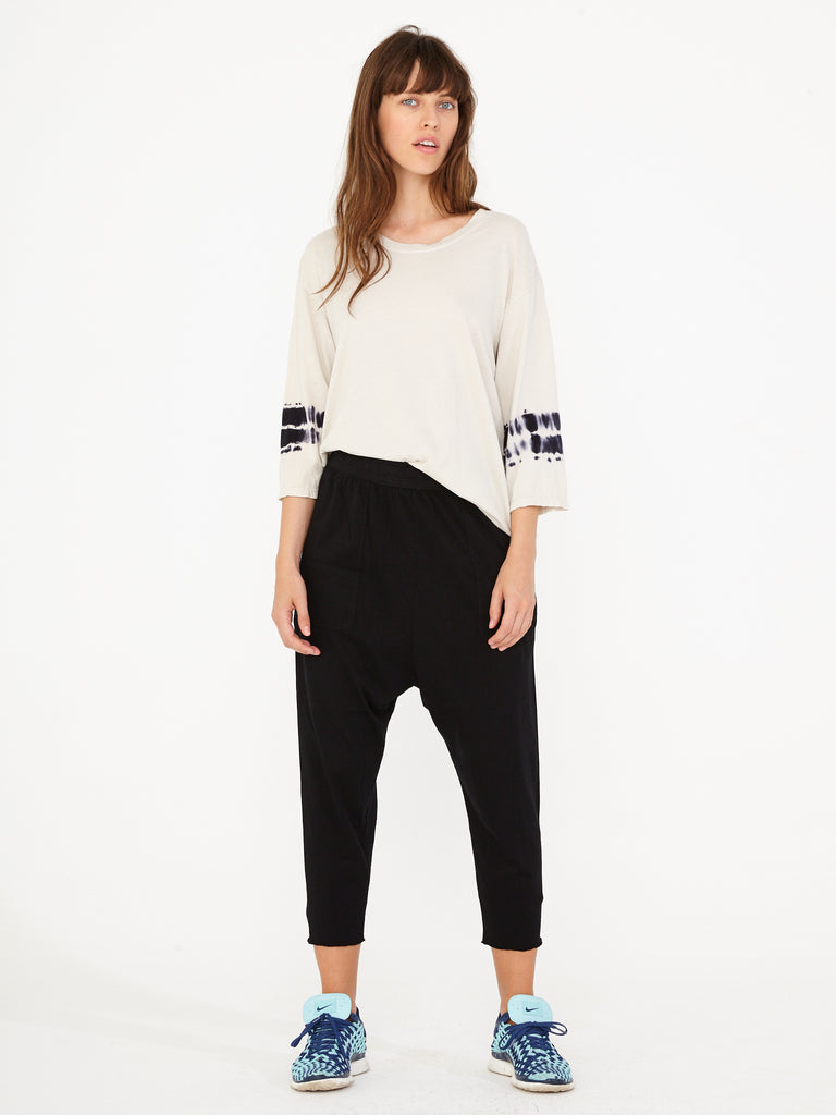Black Sueded Baby Jersey Drop Crotch Pant