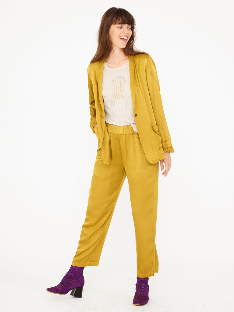 Gold Pebble Satin Ankle Pant