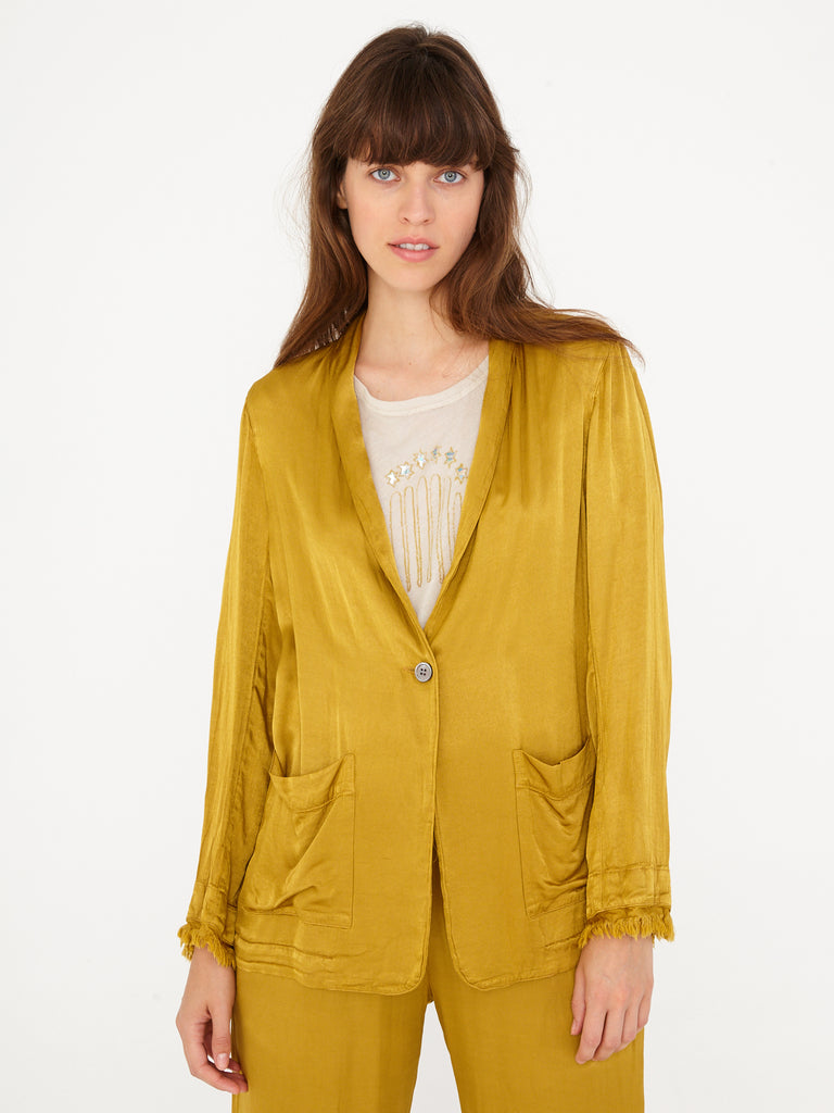 Gold Pebble Satin Shawl Blazer