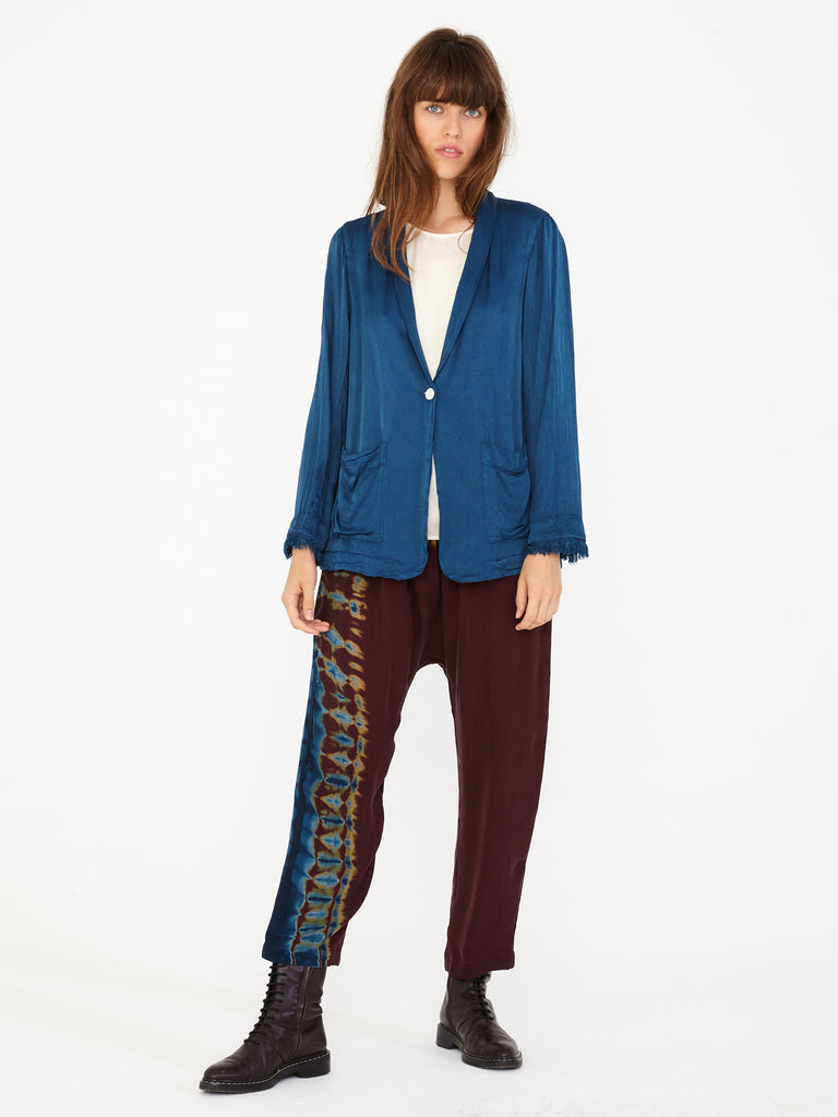 Peacock Pebble Satin Shawl Blazer