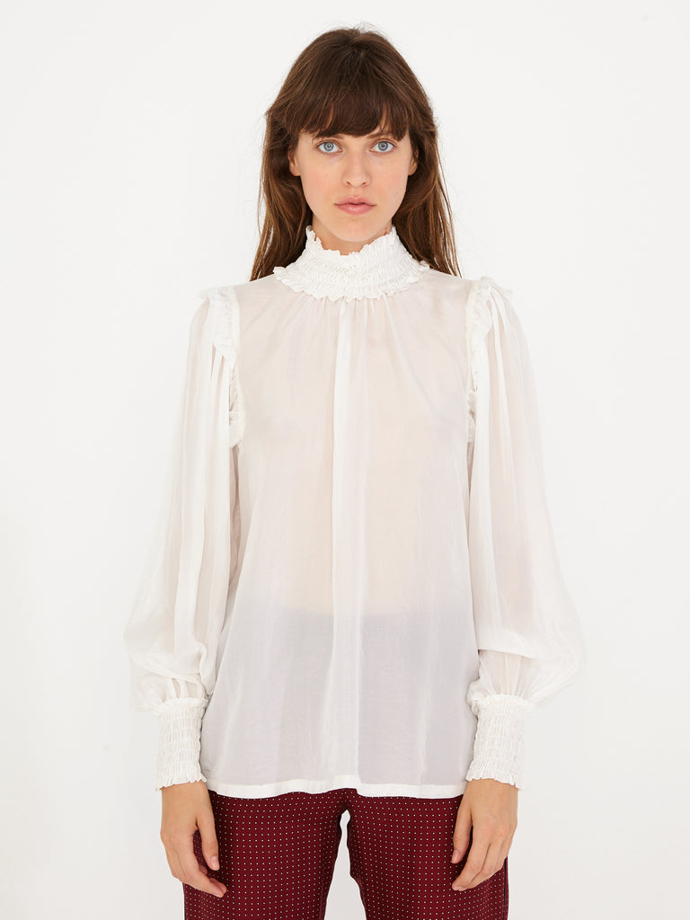 Ivory Silk Victorian Blouse