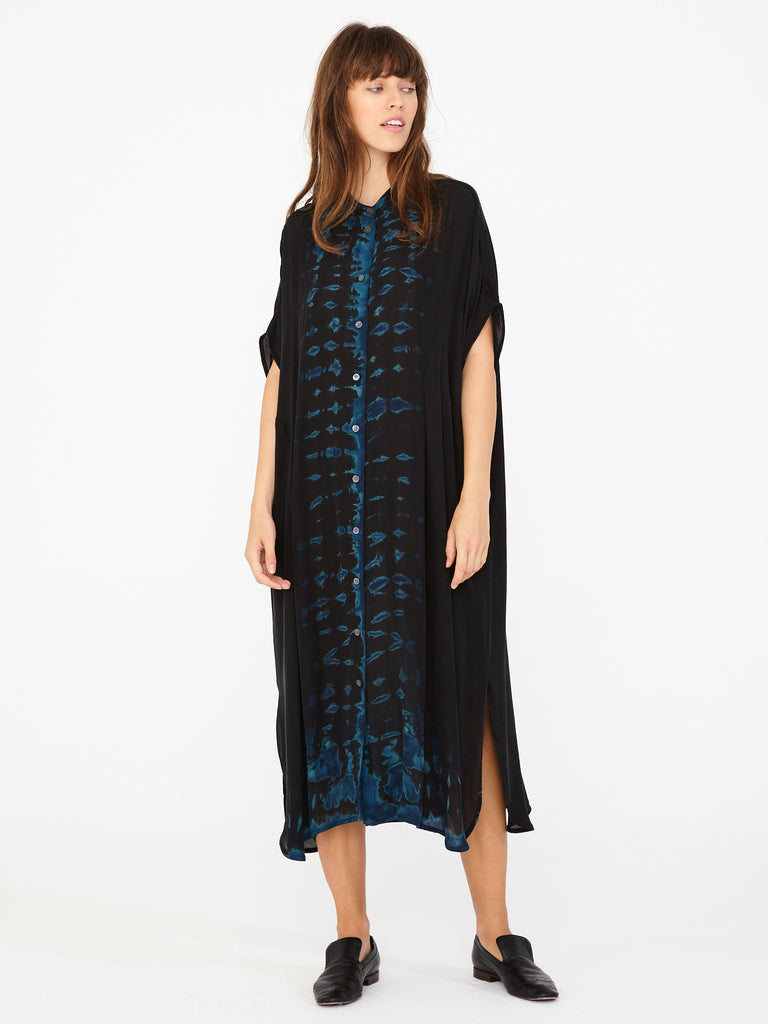Black Silk Tie Dye Caftan Dress