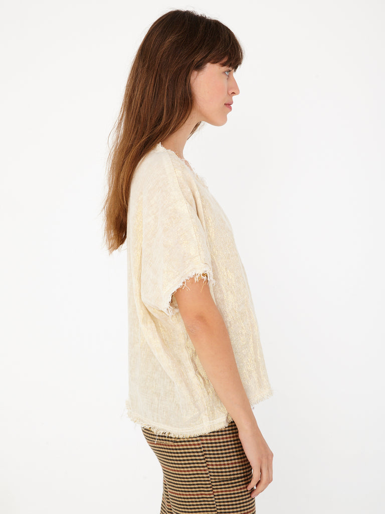Cream Lamè Broadcloth Raw Edge T Shirt