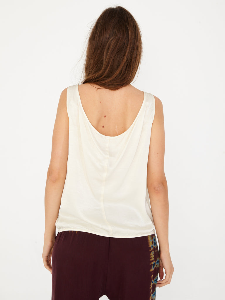 Cream Pebble Satin Open Back Top