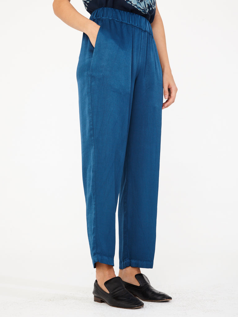 Peacock Pebble Satin Ankle Pant