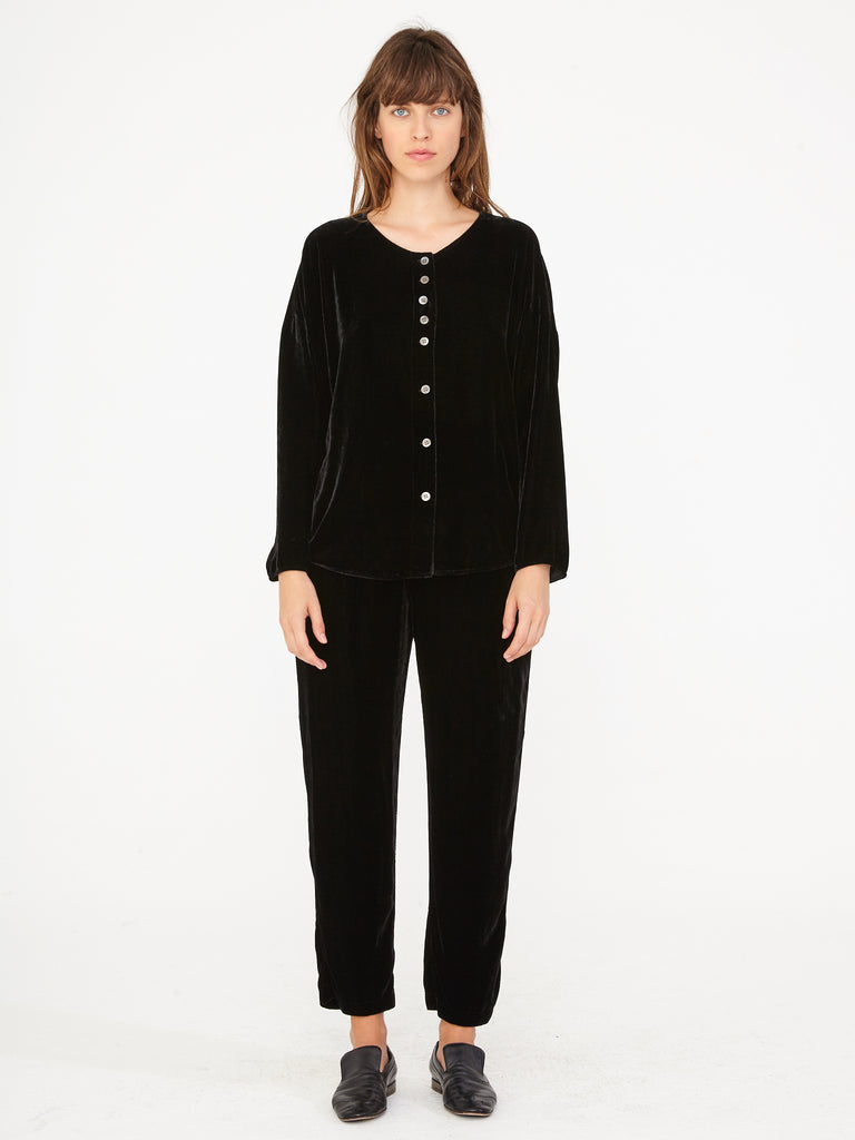 Black Velvet Button Up