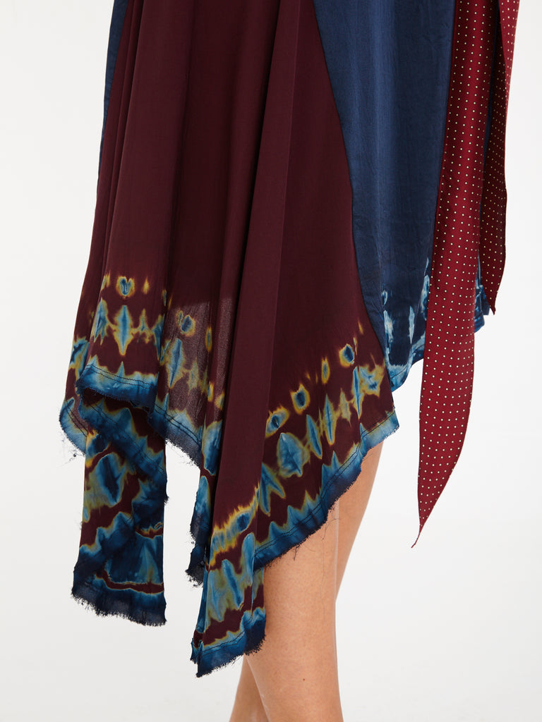 Crimson Silk Foulard Scarf Dress