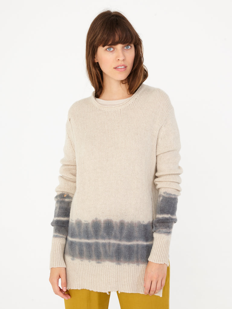 Oatmeal Tie Dye Cashmere Crew Neck
