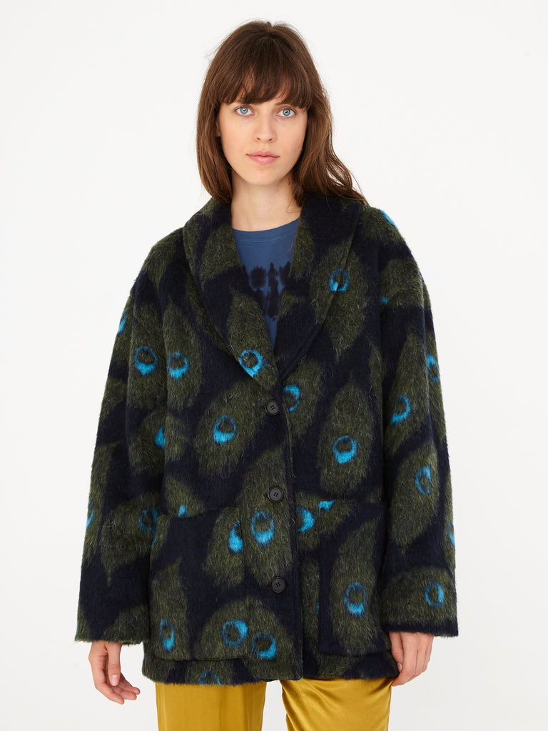 Navy Peacock Outerwear Cardigan Coat
