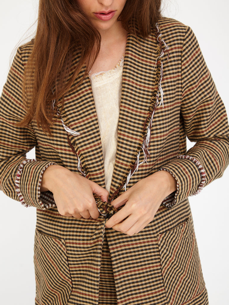 Brown Natural Plaid Cotton Stripe Shawl Blazer