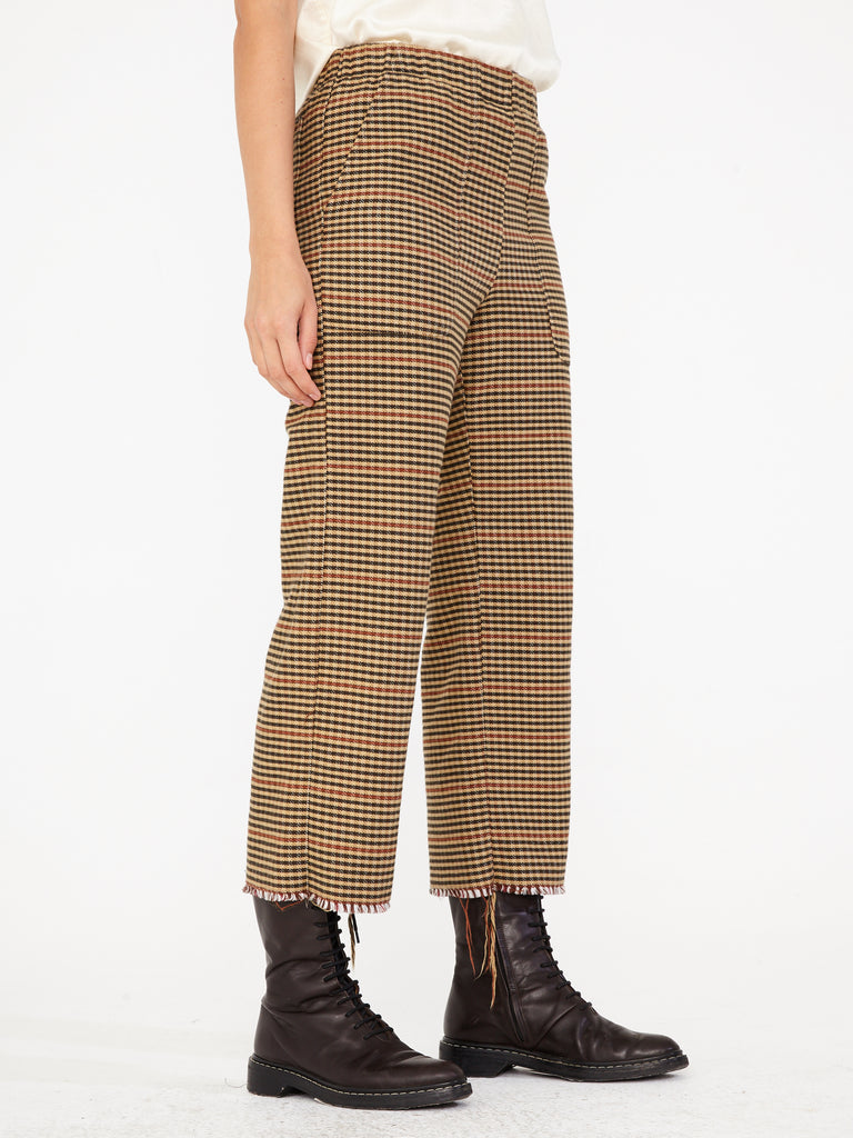 Brown Natural Plaid Cotton Stripe Cropped Pant