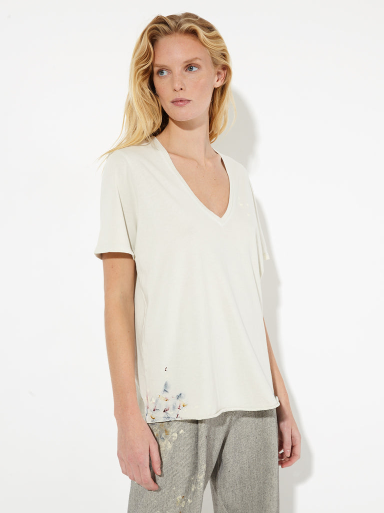 Dirty White Sueded Jersey Boxy V-Neck