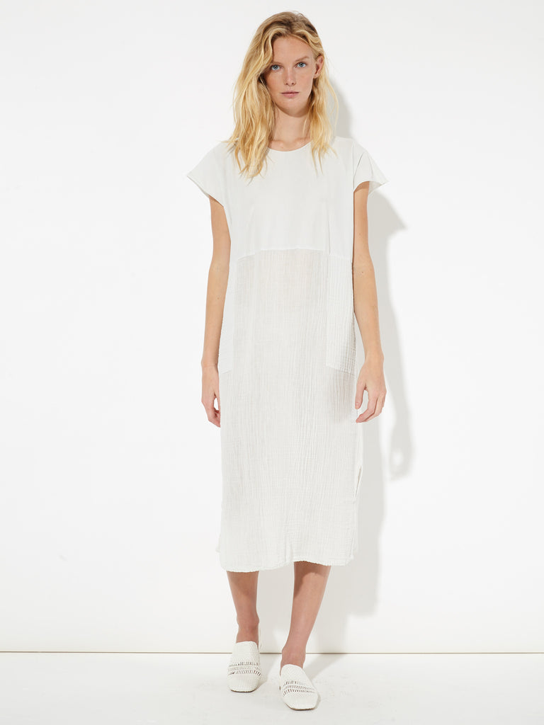 Dirty White Gauze and Sueded Baby Jersey Shift Dress