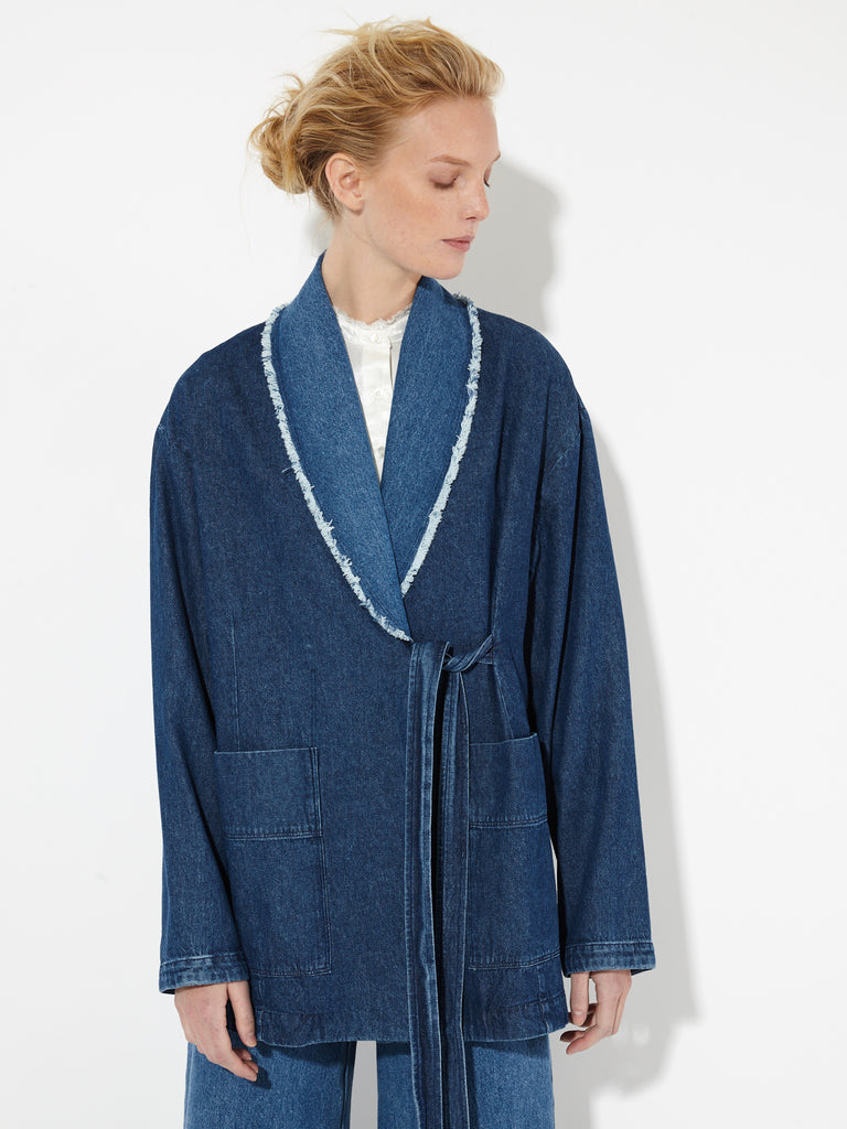 Indigo Stone Washed Denim Wrap Jacket