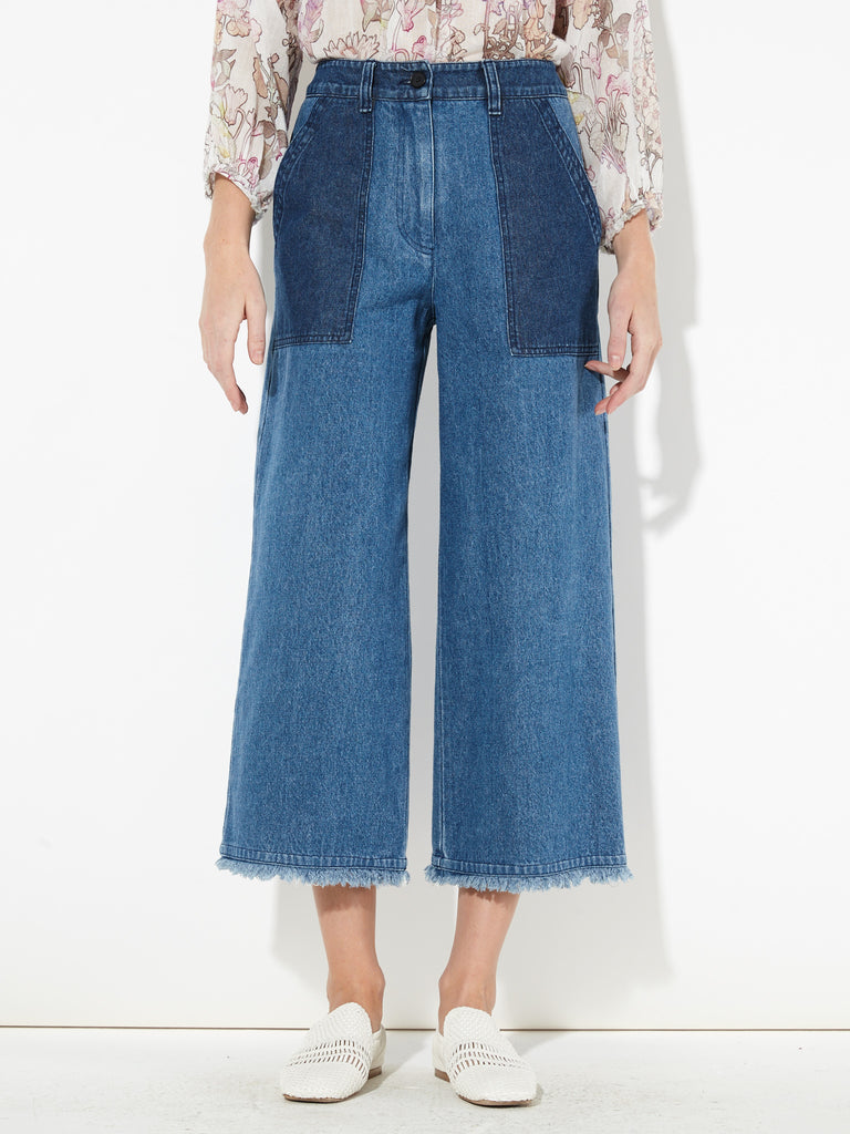 Indigo Stone Washed Denim High Waisted Crop Pant