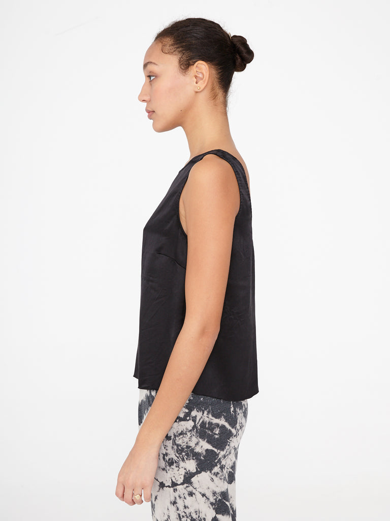 Black Charmeuse Low Back Tank
