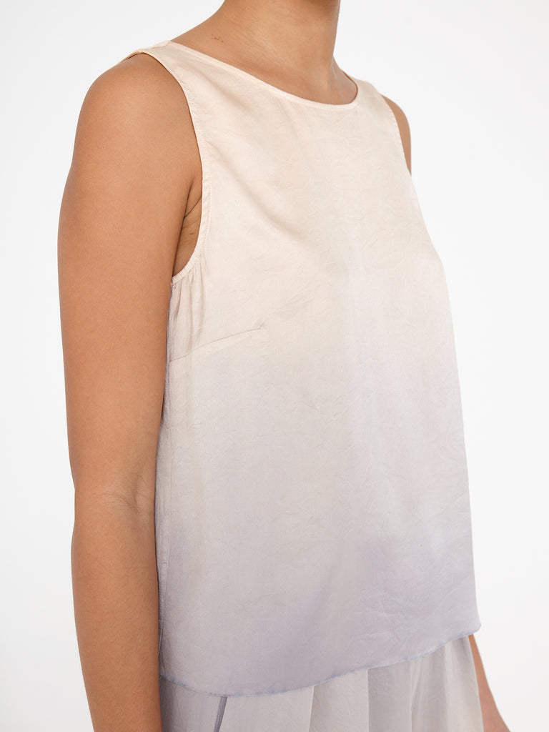 Silver Glow Charmeuse Low Back Tank