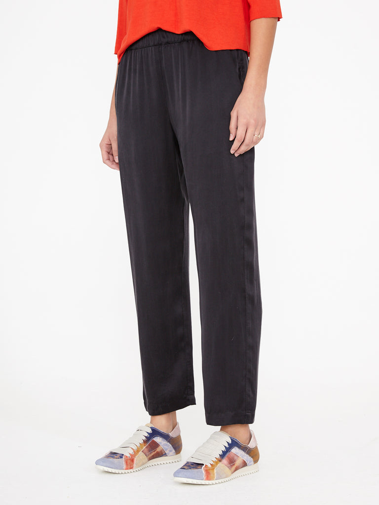 Black Charmeuse Ankle Pant