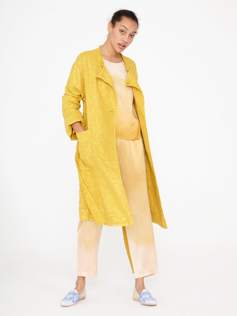 Gold Lamè Cropped Trench