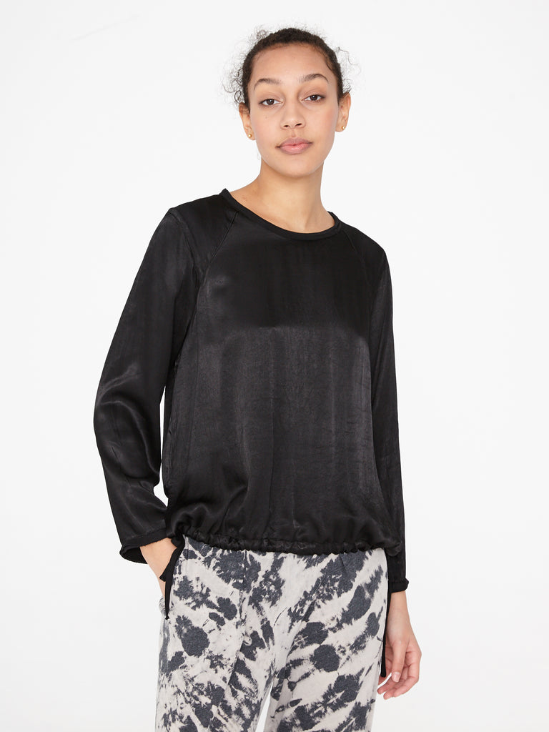 Black Satin Sweatshirt