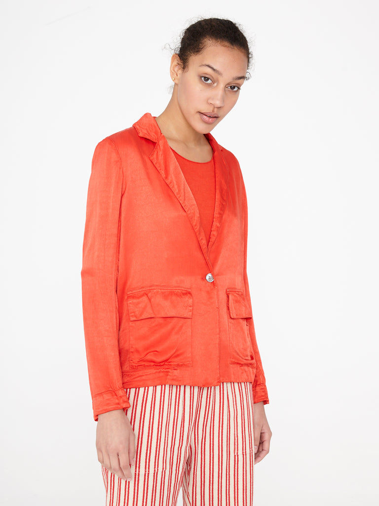 Red Satin Cargo Blazer