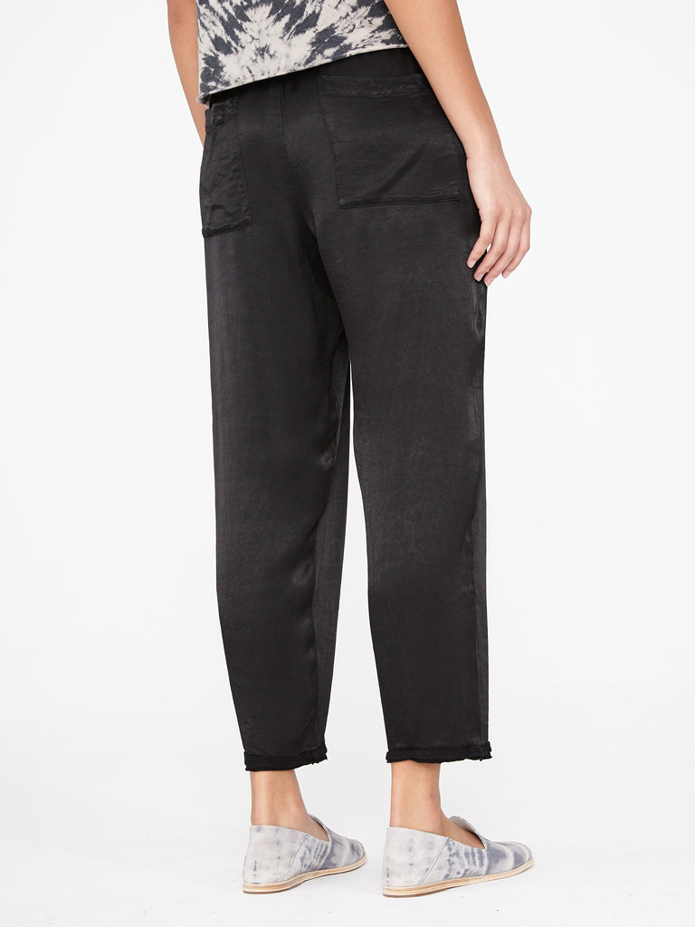 Black Satin Sweatpant